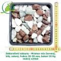 Dekorativní valouny - Mramor mix červený, bílý, zelený, frakce 20-30 mm, balení 10 Kg
