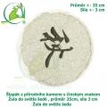 Šlapák z přírodního kamene s čínským znakem - Žula do světle šedé , průměr 35cm, síla 3 cm