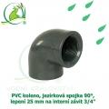 PVC koleno, jezírková spojka 90°, lepení 25 mm na interní závit 3/4