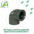 PVC koleno, jezírková spojka 90°, lepení 32 mm na interní závit 1