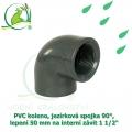 PVC koleno, jezírková spojka 90°, lepení 50 mm na interní závit 1 1/2