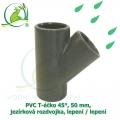 PVC T-éčko 45°, 50 mm, jezírková rozdvojka, lepení / lepení