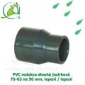 PVC redukce dlouhá jezírková 75-63 na 50 mm, lepení / lepení