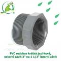 PVC redukce krátká jezírková, externí závit 2 na 1 1/2 interní závit