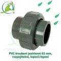 PVC šroubení jezírkové 63 mm, rozpojitelné, lepení/lepení