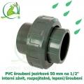 PVC šroubení jezírkové 50 mm na 1 1/2 interní závit, rozpojitelné, lepení/šroubení