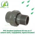 PVC šroubení jezírkové 63 mm na 2 externí závit, rozpojitelné, lepení/šroubení