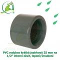 PVC redukce krátká jezírková 25 mm na 1/2 interní závit, lepení/šroubení