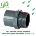 PVC redukce dlouhá jezírková 50-40 mm lepení na externí závit 1 1/2