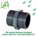 PVC externí šroubení (dvojnipl) externí závit 3/4 na externí závit 3/4