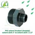 PVC externí šroubení (dvojnipl) externí závit 2 na externí závit 1 1/2