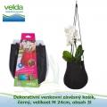 Dekorativní venkovní závěsný košík, černý, velikost M 24cm, obsah 3l - Velda Water Bag Black M