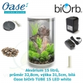 Oase biOrb TUBE 15 LED white - Akvárium 15 litrů, průměr 32,8cm, výška 31,5cm, bílá