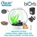 Oase biOrb CLASSIC 15 MCR white - Akvárium 15 litrů, průměr 30cm, výška 32cm, bílá, dálkové ovládání s měničem barev