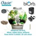 Oase biOrb CLASSIC 30 LED silver - Akvárium 30 litrů, průměr 40cm, výška 42cm, stříbrná