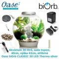 Oase biOrb CLASSIC 30 LED Thermo silver - Akvárium 30 litrů, průměr 40cm, výška 42cm, stříbrná, sada topení