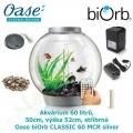 Oase biOrb CLASSIC 60 MCR silver - Akvárium 60 litrů, průměr 50cm, výška 52cm, stříbrná
