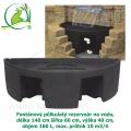 Fontánový půlkulatý rezervoár na vodu, délka 140 cm šířka 60 cm, výška 40 cm, objem 160 L, max. průtok 10 m3/h