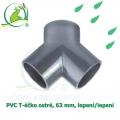 PVC T-éčko ostré, 63 mm, lepení/lepení