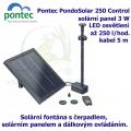 Pontec PondoSolar 250 Control - Solární fontána s čerpadlem, solárním panelem a komfortním dálkovým ovládáním.