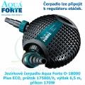 Jezírkové čerpadlo Aqua Forte O-18000 Plus ECO, průtok 17500l/h, výtlak 6,5 m, příkon 170W