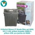 Průtočná filtrace VT Ready filter set 9000, UV-C 11W, průtok čerpadla 2000l/h, příkon 43W, pro jezírka do 9000L