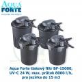 Aqua Forte tlakový filtr BF-15000, UV-C 24 W, max. průtok 8000 l/h, pro jezírka do 15 m3