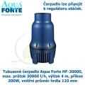 Tubusové čerpadlo Aqua Forte HF-30000, max. průtok 30000 l/h, výtlak 4 m, příkon 200W, vnitřní průměr hrdla 110 mm
