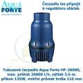Tubusové čerpadlo Aqua Forte HF-26000, max. průtok 26000 l/h, výtlak 3,5 m, příkon 135W, vnitřní průměr hrdla 110 mm