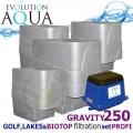 LAKES, BIOTOP&GOLF FILTRATION SYSTEM 250 GRAVITY, 4xCetus, 1x Airtech 150