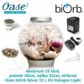 Oase biOrb Classic 15 L Silver EU Halogen Light - Akvárium 15 litrů, průměr 30cm, výška 32cm, stříbrná