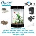 Akvárium 35 litrů, průměr 33,5cm, výška 45,5cm, černá - Oase biUbe 35 L Blue Tiny, Black bands, Halogen Light