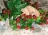 Rostlina s červenými růžemi v mechu - 26x26 cm