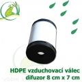 Vzduchovací HDPE válec, 80x70 mm, extra jemný 120 micron na výstupu, neomezená životnost, optimální průtok 17 litrů/min.