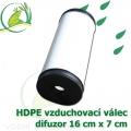 Vzduchovací HDPE válec, 160x70 mm, extra jemný 120 micron na výstupu, neomezená životnost, optimální průtok 33 litrů/min.