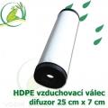 Vzduchovací HDPE válec, 250x70 mm, extra jemný 120 micron na výstupu, neomezená životnost, optimální průtok 50 litrů/min.