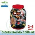 1500 ml 3-color Premium Fish Food, velikosti 2-4 mm, růstové letní krmivo pro malé i velké ryby