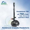 Pondovario 750, fontánové čerpadlo, Oase Pontec, 750 l/hod., výtlak 1,1 m, spotřeba 9 Watt, ZDARMA 4 různé fontánové trysky + regulovatelný vývod na vodopád