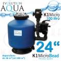 K1 Micro Bead 24 EU PLUS2, včetně 100 l K1 Micro + ZDARMA bakterie, EU plus2 zapojení a rozvody čištění, profi tlaková filtrace pro koi a chovy ryb do 36-50 m3, jezírka, biotopy 30-200 m3