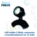 LED osvětlení jezírek a zahrad o výkonu 1x3 Watt s auto-senzorem ON/OFF, včetně trafa a kabelu, cca 7,5 m