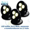 LED osvětlení jezírek a zahrad o výkonu 3x12 Watt se senzorem, včetně trafa a kabelu