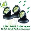 Vodní osvětlení, 3xLED Light 3x60 diod, 12 Volt, 3x6,5 Watt s automatickým senzorem vypínání