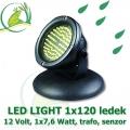 Vodní osvětlení 1x LED Light 120 diod, 12 Volt, 7,6 Watt s automatickým senzorem vypínání