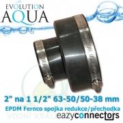 EA EPDM spojka 2 na 1 1/2, eazy connector pro spoj čehokoliv, redukce (přechodka), spoje 63-50 mm na 50-38 mm