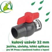 kulový ventil, uzávěr 32 mm, nerozebíratelný kohout, spoj lepení/lepení