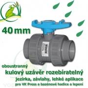 kulový ventil 40 mm, oboustranně rozpojitelný, napojení lepení/lepení