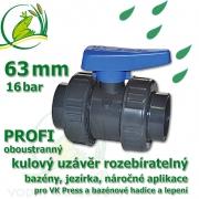 kulový ventil 63 mm profi 16 bar, oboustranně rozpojitelný, napojení lepení/lepení