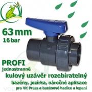 kulový ventil 63 mm profi 16 bar, jednostranně rozpojitelný, napojení lepení/lepení