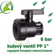 kulový ventil PP 1, 6 bar, jednostranně rozpojitelný, napojení oboustranné vnitřní šroubení 1