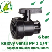 kulový ventil PP 1 1/4, 6 bar, jednostranně rozpojitelný, napojení oboustranné vnitřní šroubení 1 1/4